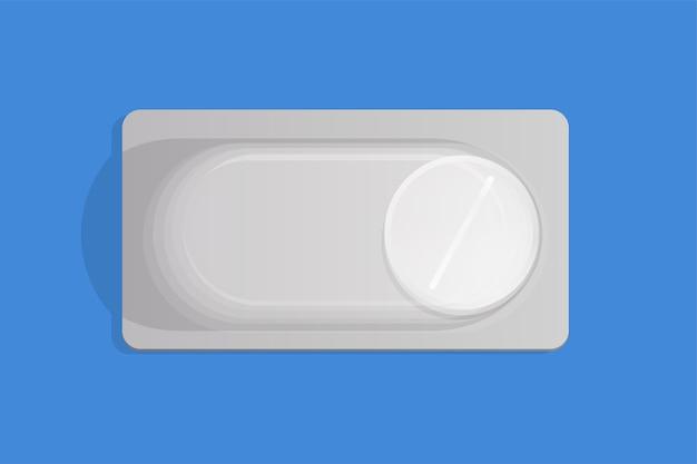Witte pil in blisterverpakking Premium Vector