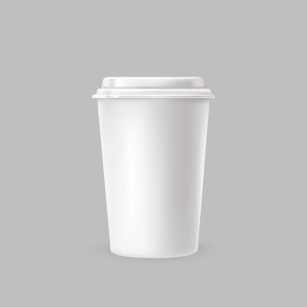 Witte plastic beker Gratis Vector