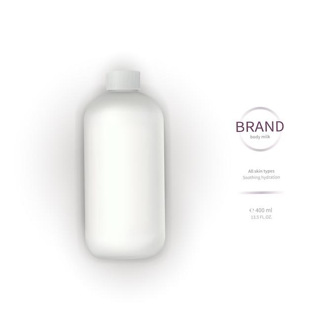 Witte plastic fles met dispenser Gratis Vector