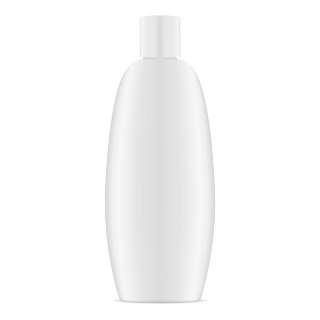 Witte plastic ovale cosmetische container Premium Vector