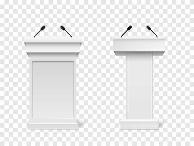 Witte podium tribune rostrum stand met microfoons geïsoleerd Premium Vector