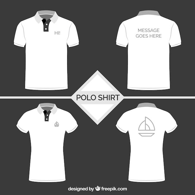 Witte polo shirt collectie Premium Vector