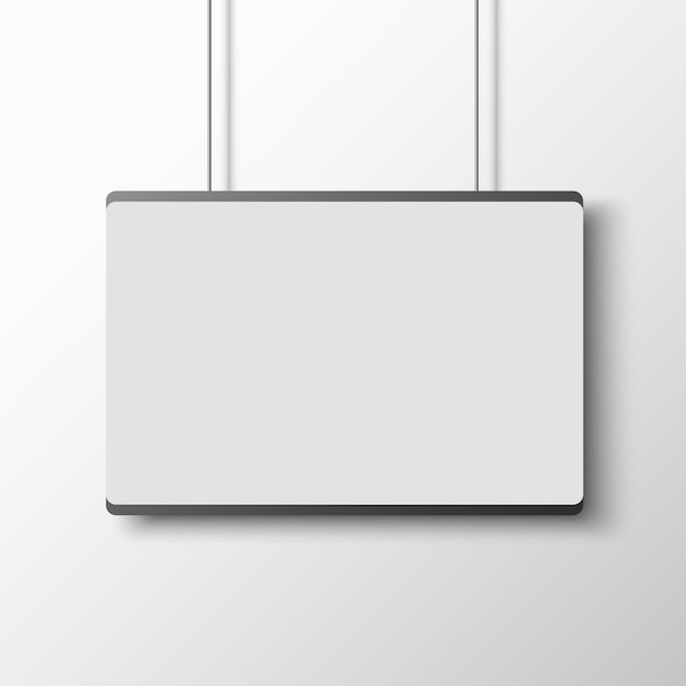 Witte poster op witte muur. . Premium Vector