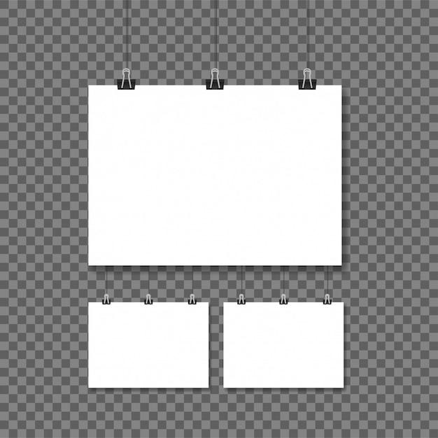Witte posters die op bindmiddel transparante achtergrond hangen Premium Vector