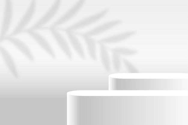 Witte product display podium platform achtergrond Gratis Vector