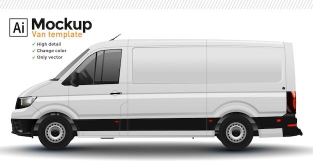 Witte realistische bestelwagen sjabloon. wijzig lichaamskleur. Premium Vector