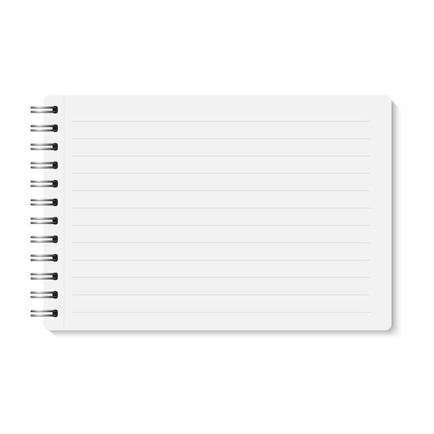 Witte realistische gesloten spiraal gebonden notebook. Premium Vector