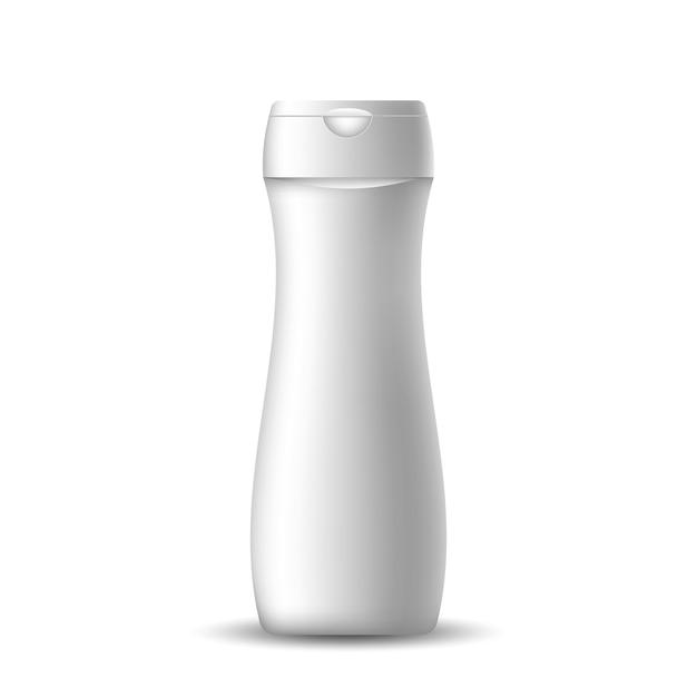 Witte realistische lege fles voor shampoo Premium Vector