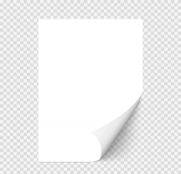 Witte realistische papieren pagina met gekrulde hoek Premium Vector