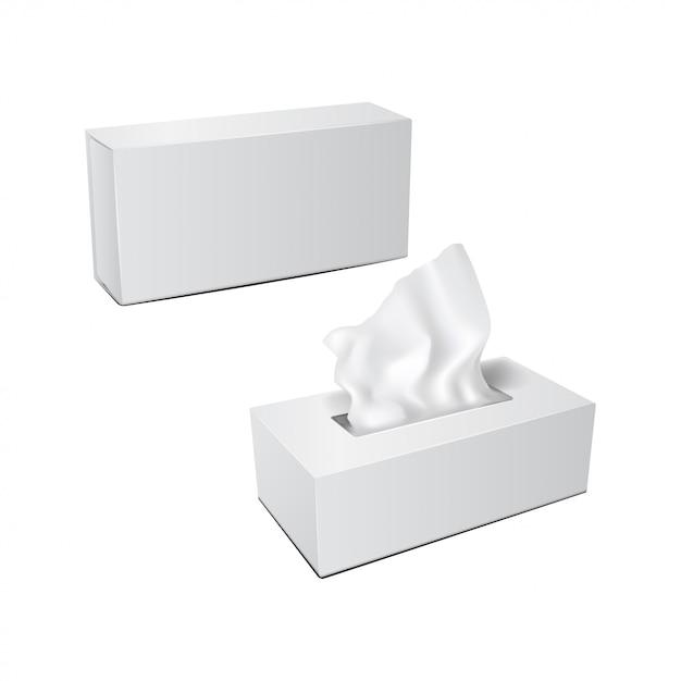 Witte rechthoekige doos met papieren servetten. realistische verpakkingsset Premium Vector