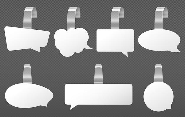 Witte reclamewobblers, tekstballonnen Gratis Vector