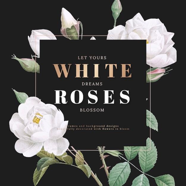 Witte rozen inspirerende kaart ontwerp Gratis Vector