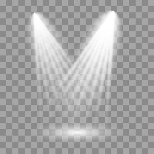 Witte schijnwerper schijnt op het podium, scène, podium. Premium Vector