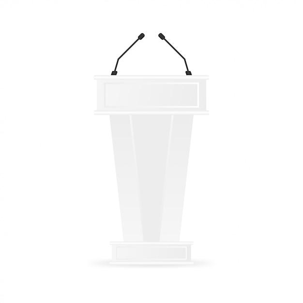Witte schone podium tribune rostrum standaard. Premium Vector