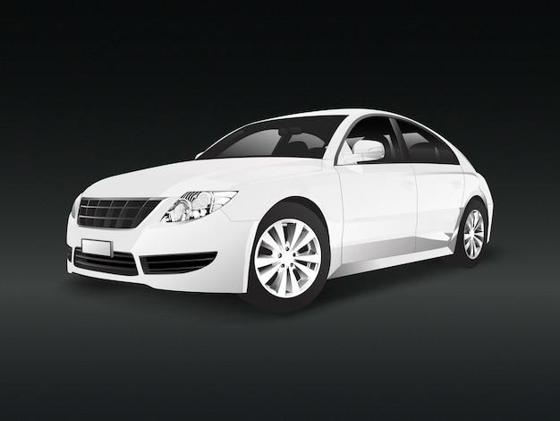 Witte sedanauto in een zwarte vector als achtergrond Gratis Vector