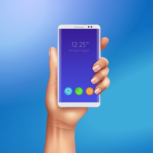 Witte slimme telefoon in vrouwelijke hand op gradiënt blauwe realistische illustratie als achtergrond Gratis Vector