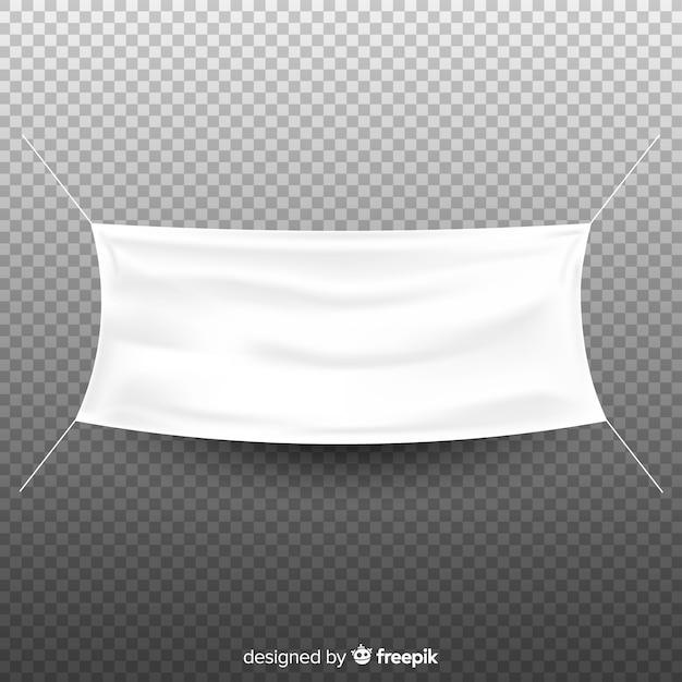 Witte stoffenbanner Gratis Vector