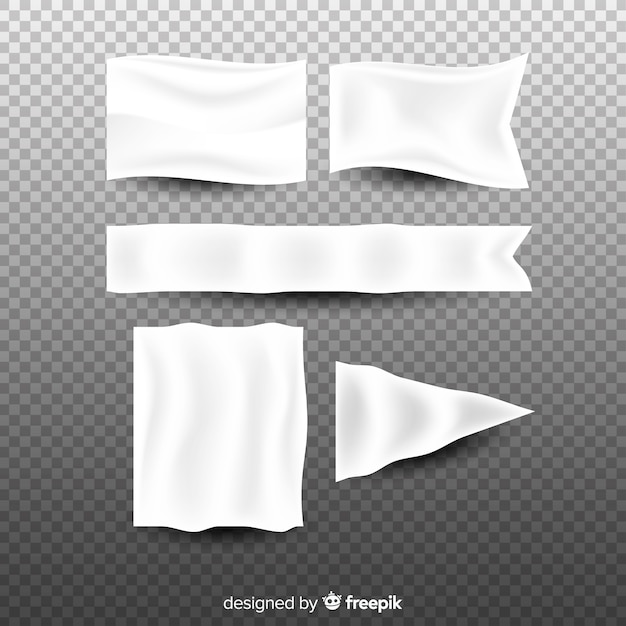 Witte stoffenbannercollectie Gratis Vector