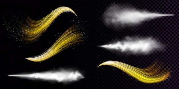 Witte stofnevel en golvende stromen van gouden poeder geïsoleerd op transparante achtergrond Gratis Vector
