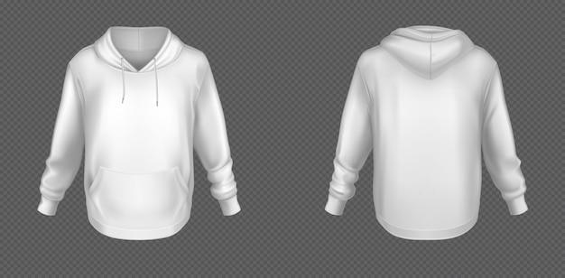 Witte sweater met capuchon, mock up voor- en achterkant Gratis Vector