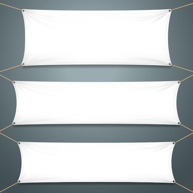 Witte textielbanners. Premium Vector