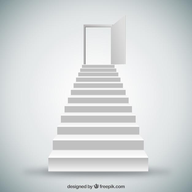Witte trappen en deuren Gratis Vector