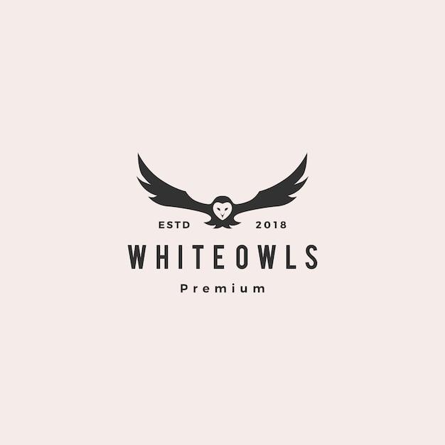 Witte uil embleem vector pictogram illustratie Premium Vector