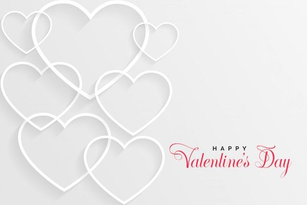 Witte valentijnsdag kaart met lijn harten Gratis Vector