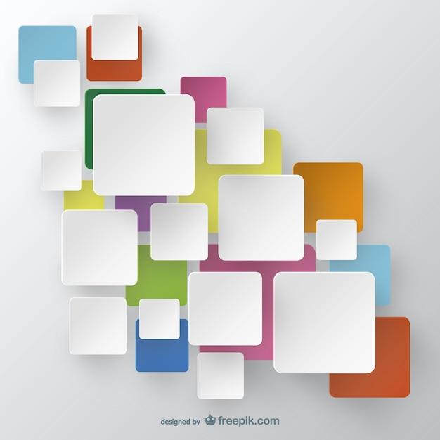 Witte vierkantjes op kleurrijke vierkanten achtergrond Gratis Vector