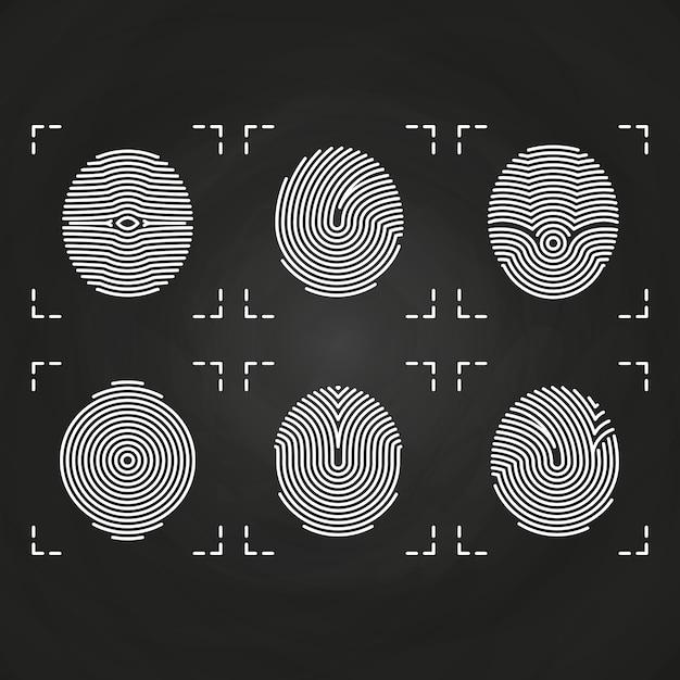Witte vingerafdrukken pictogrammen collectie op schoolbord Premium Vector