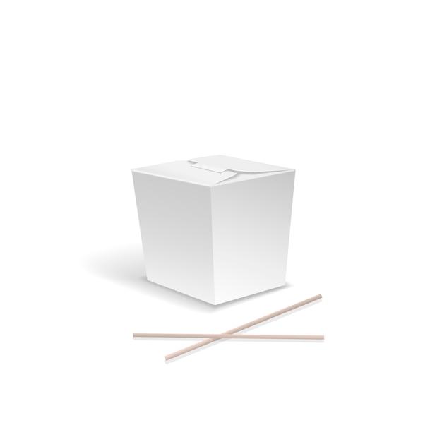 Witte voedseldoos, container voor snel chinees voedsel, haalt noedeldoos met eetstokjes. Premium Vector