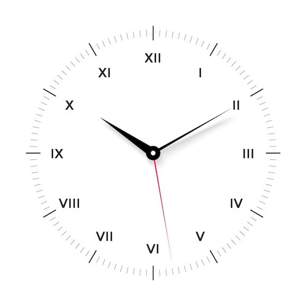 Witte wijzerplaat voor met zwarte en rode wijzer. romeinse cijfers Premium Vector