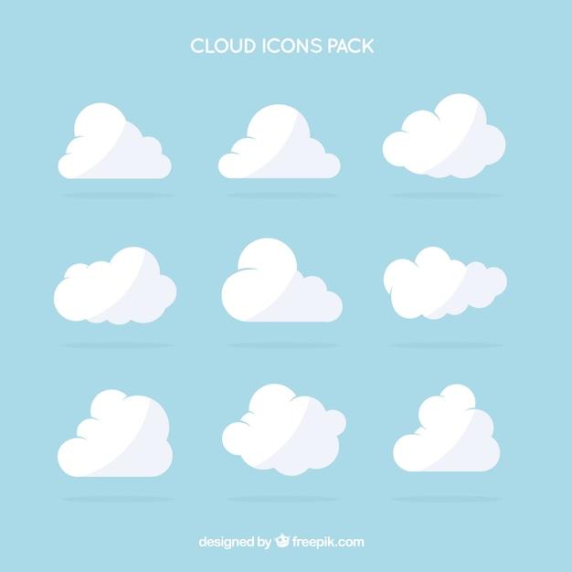 Witte wolk iconen pack Premium Vector