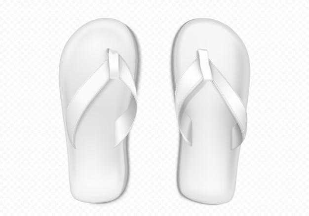 Witte zomer rubberen slippers voor strand of zwembad Gratis Vector