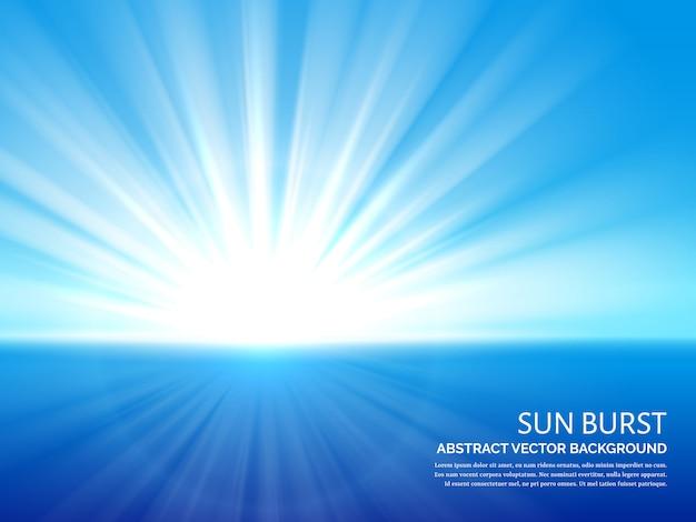 Witte zonuitbarsting op blauwe hemelachtergrond Premium Vector