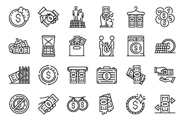 Witwassen van geld pictogrammen instellen, kaderstijl Premium Vector
