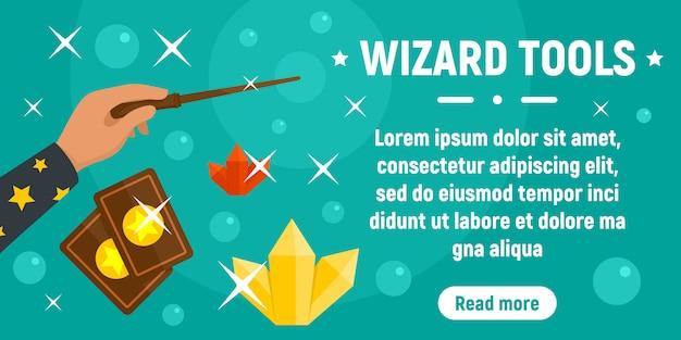 Wizard gereedschap concept sjabloon voor spandoek, vlakke stijl Premium Vector