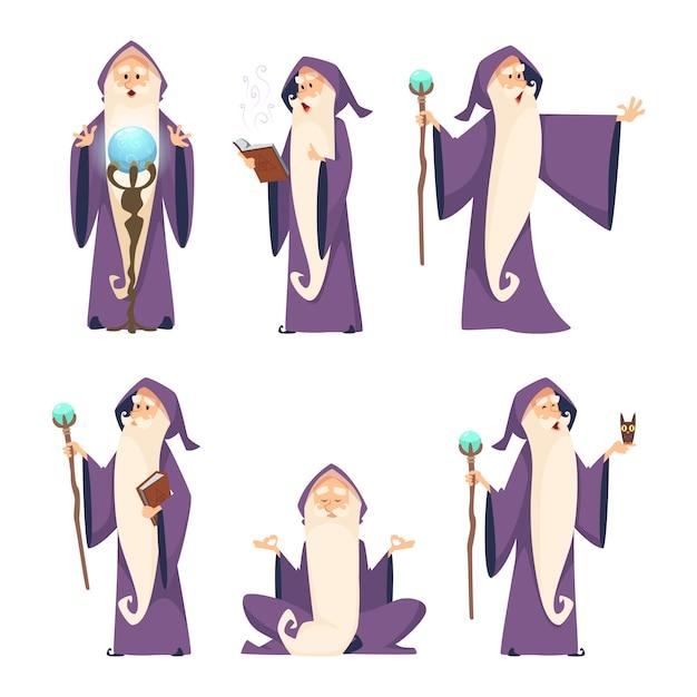 Wizard mannelijke set Premium Vector