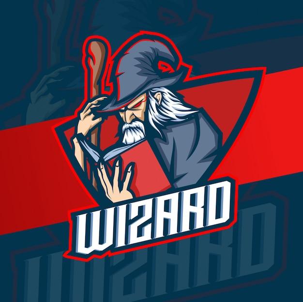 Wizard mascotte esport logo ontwerp Premium Vector