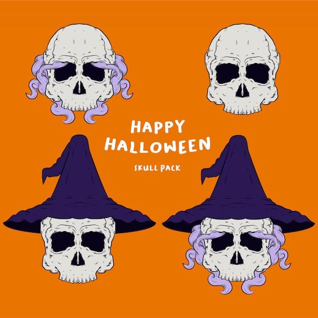 Wizzard-schedelhoofd voor halloween-het embleempakket van de illustratiemascotte Premium Vector