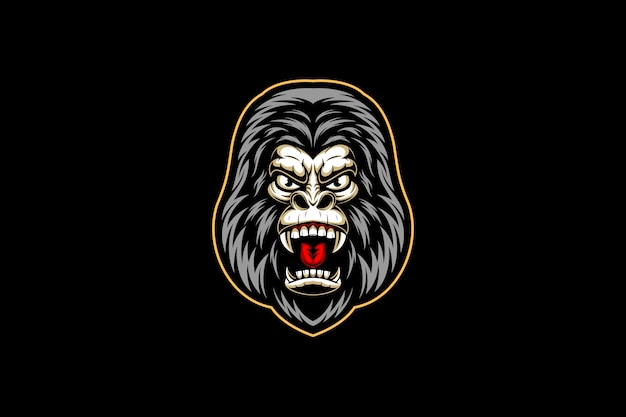 Woest gorilla hoofd esport logo Premium Vector