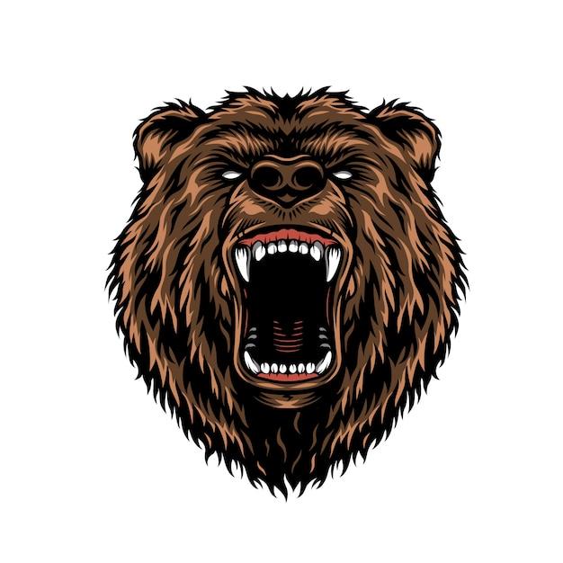 Woeste agressieve beer hoofd kleurrijke concept Gratis Vector