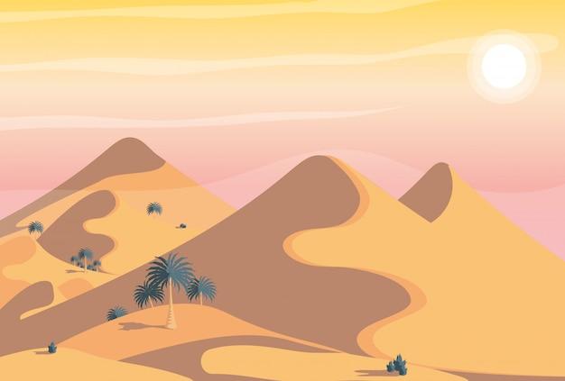 Woestijn landschap scène Premium Vector