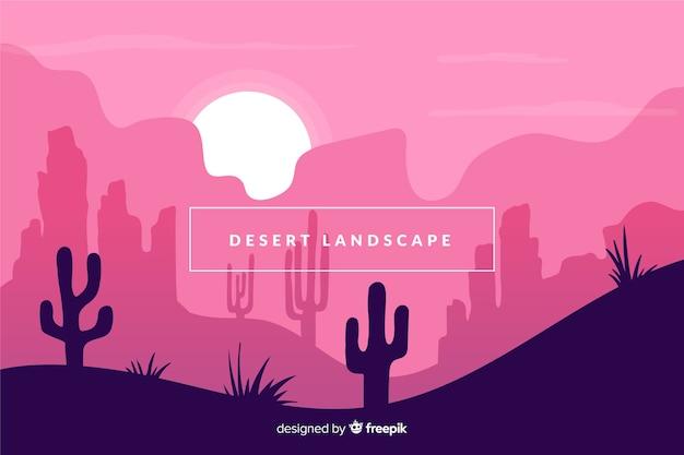 Woestijn met de achtergrond van het cactuslandschap Gratis Vector