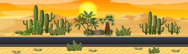 Woestijn met het landschapsscène van de wegnatuur Gratis Vector