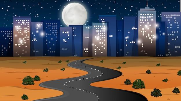 Woestijn stad achtergrond scène Gratis Vector