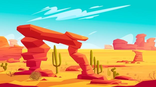 Woestijnboog en tumbleweed op natuurlijk landschap Gratis Vector