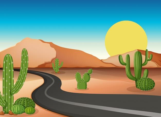 Woestijngrond met lege weg Premium Vector
