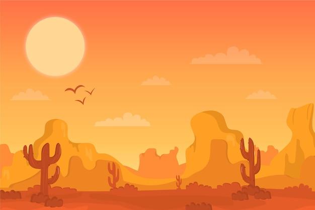 Woestijnlandschap - achtergrond voor videoconferenties Gratis Vector