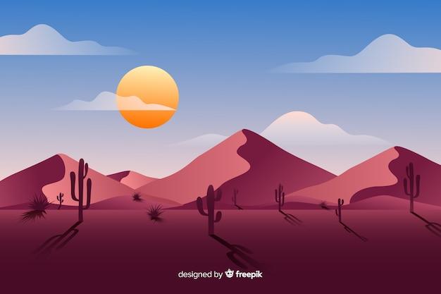 Woestijnlandschap dagtijd Gratis Vector